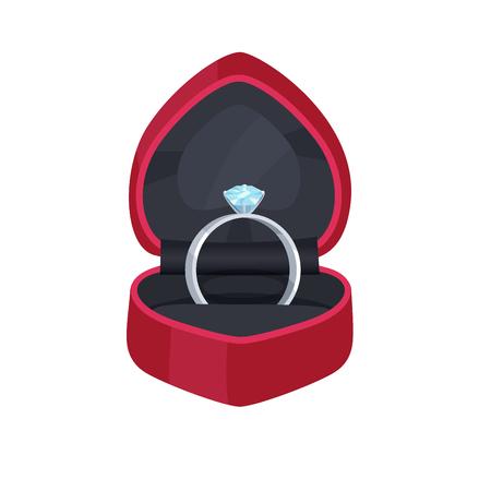 Illustration pour Engagement Ring in Velvet Box with Precious Stone - image libre de droit
