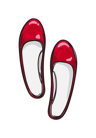 Ilustración de Red Ballerina Flat Shoes Isolated Illustration - Imagen libre de derechos