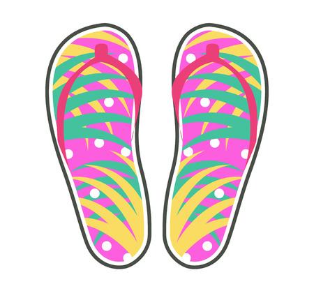 Ilustración de Pair of colorful flip-flops icon - Imagen libre de derechos