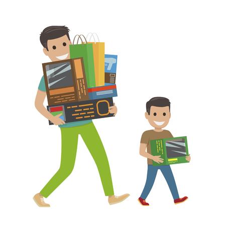Ilustración de Father and Son Doing Shopping Hold Purchases. - Imagen libre de derechos