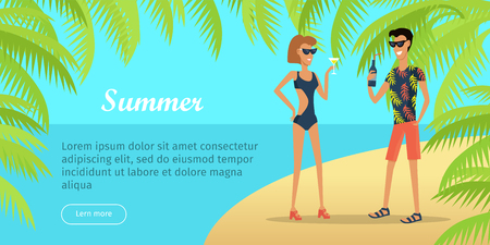 Illustration pour Summer Vacation Conceptual Flat Vector Web Banner - image libre de droit
