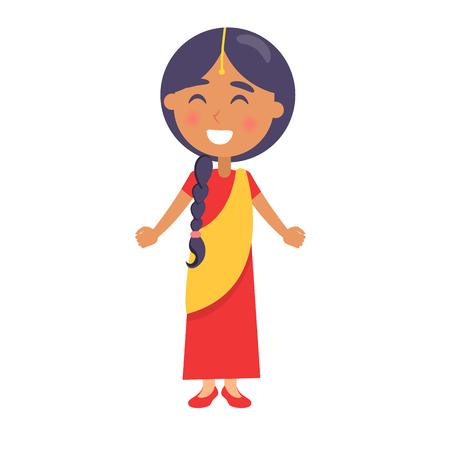Illustration pour Indian Smiling Girl Wishes Happy Childrens Day. - image libre de droit