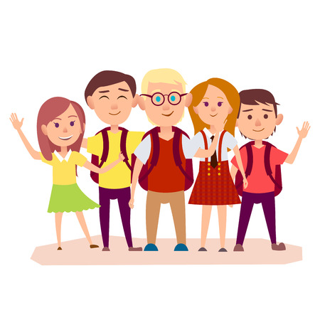 Illustration for Three Schoolboys with Backpacks and Three Girls - Royalty Free Image