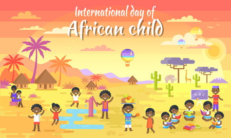 Illustration pour International Day of African Child Big Banner - image libre de droit