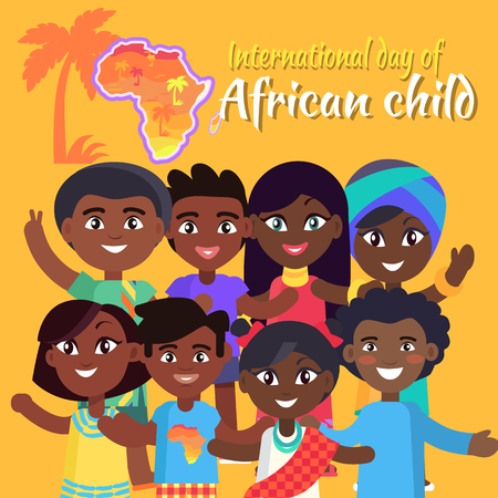 Illustration pour International African Child Day postcard with kids who wave hands and pose for picture, sign and map of Africa vector illustration. - image libre de droit
