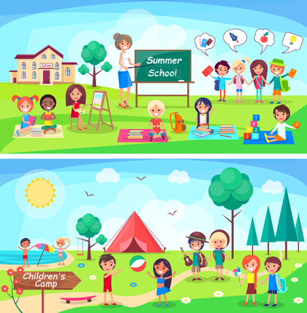 Illustration for Summer School and Childrens Camp Illustrations - Royalty Free Image