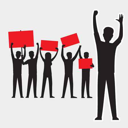 Illustration pour Cartoon adult people silhouettes with red streamers protesting - image libre de droit