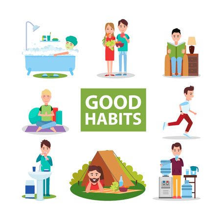 Illustration for Good Habits Poster with Characters Who Do Right - Royalty Free Image