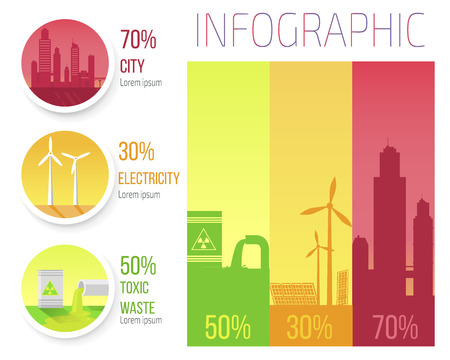 Illustration for City Electricity Toxic Waste Infographic Poster - Royalty Free Image