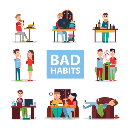 Illustrazione per Bad Habits Poster with People Who Do Wrong Set - Immagini Royalty Free