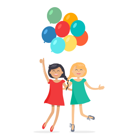 Illustration for Happy Girls with Colorful Balloons Friends Forever - Royalty Free Image