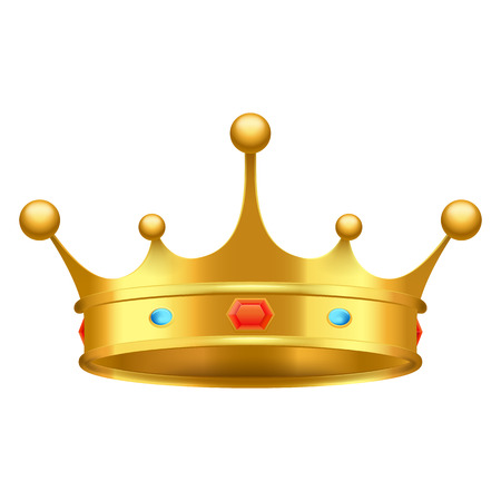 Illustration for Golden crown with red and blue stones close-up isolated on white. King greatness subject decorated with luxury ornaments vector illustration. - Royalty Free Image