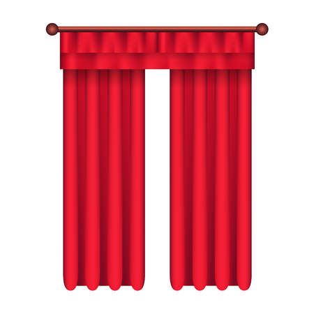 Illustration pour Heavy straight drapes of red fabric with lambrequin vector isolated on white background. Classic curtains in victorian style on cornice illustration for window dressing and interior design concepts - image libre de droit