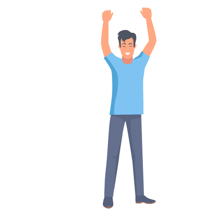 Illustration pour Man in t-shirt and trousers holds two hands up vector illustration in flat style design. Emotional nonverbal body language clue sign of win - image libre de droit