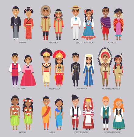 Illustration pour Couples in Traditional Clothes Present Countries - image libre de droit