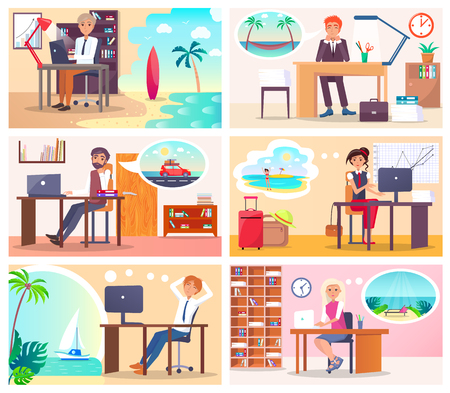Illustration pour People at Work Dream about Vacation at Seaside - image libre de droit