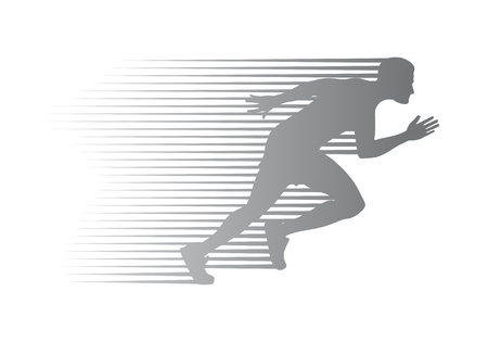 Foto de Silhouette of Jogger on Finish. Athletic Running Man - Imagen libre de derechos
