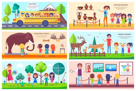 Ilustración de Places of Interest Exploration Illustrations Set - Imagen libre de derechos