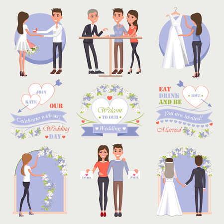 Ilustración de Welcome to Our Wedding Isolated Illustrations Set - Imagen libre de derechos