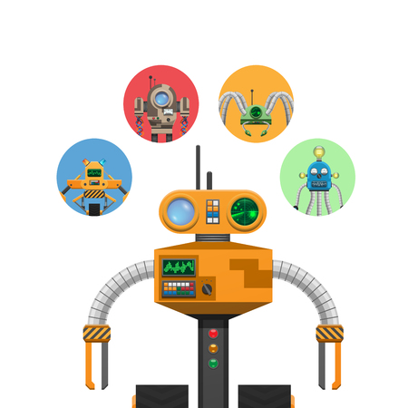 Illustration pour Orange Mechanic Robot with Indicators and Antennae - image libre de droit
