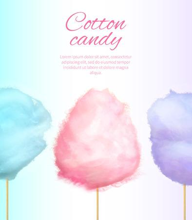 Ilustración de Cotton Candy Banner with Sweet Floss Spun Sugar - Imagen libre de derechos