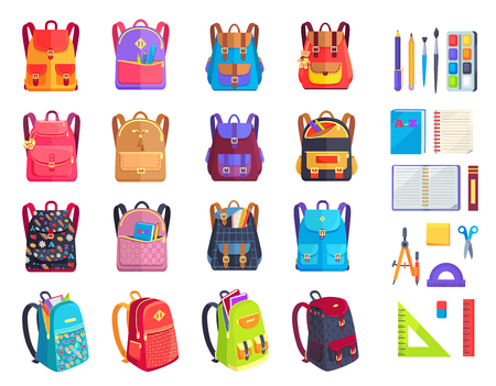 Illustration for Colorful Modern Rucksacks and School Supplies Set - Royalty Free Image