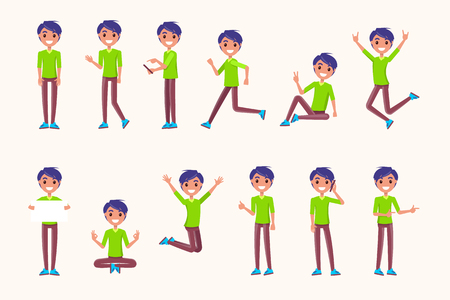 Photo pour Guy poses in movement, during jump, while running, during rest, non verbal communication signs. Vector illustration of boy meditation, speaking on telephone - image libre de droit