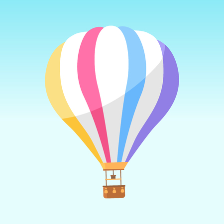 Foto de Airballoon with colorful stripes icon isolated on white. Vector illustration of big object for travelling by air and watching scenic landscapes with basket for people. Air means of transportation - Imagen libre de derechos