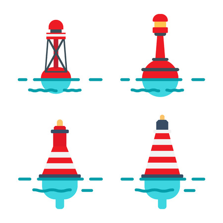 Ilustración de Striped Buoys in Water Isolated Illustrations Set - Imagen libre de derechos