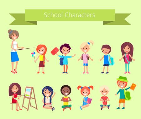 Ilustración de School Characters, Vector Collection of Pupils - Imagen libre de derechos