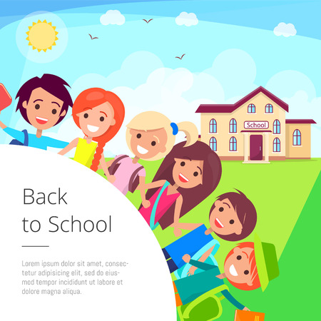 Illustration for Back to School Cartoon Illustration with Kids - Royalty Free Image