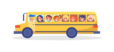 Illustration pour Yellow Trip Bus with Kids Going on Excursion - image libre de droit