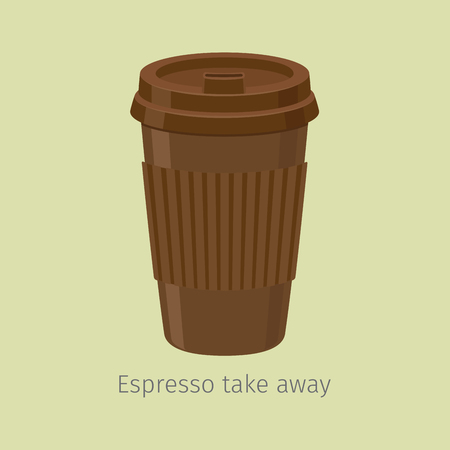 Illustration for Take Away Espresso in Paper Cup with Lid, Flat Vector - Royalty Free Image