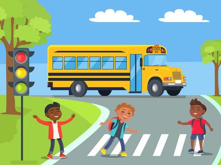 Illustration pour Boys Standing on Pedestrian Crossing Illustration - image libre de droit