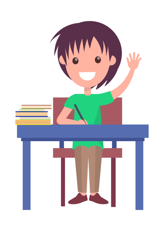 Illustration for Back to School Vector Illustration with Schoolboy - Royalty Free Image