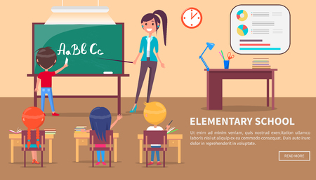 Illustration for Elementary School Banner with Children and Teacher - Royalty Free Image