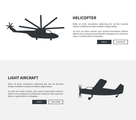 Illustration pour Helicopter and Light Aircraft Set of Black Banners - image libre de droit