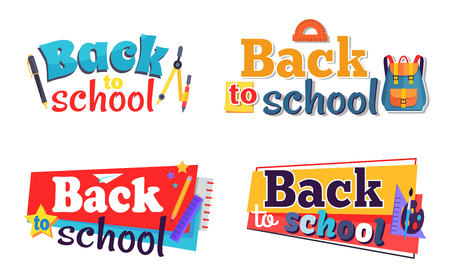 Illustrazione per Back to School Stickers Set with Stationary Objects - Immagini Royalty Free