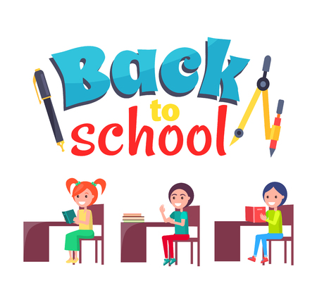Illustration pour Back to School Poster with Stationary and Pupils - image libre de droit