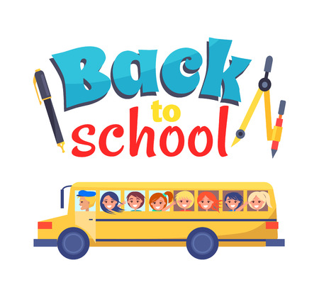 Illustration pour Back to School Poster Stationary Itema and Bus - image libre de droit
