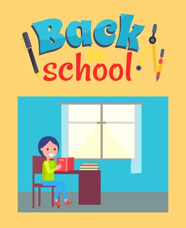Illustration pour Back to School Poster with Schoolboy Sit at Desk - image libre de droit