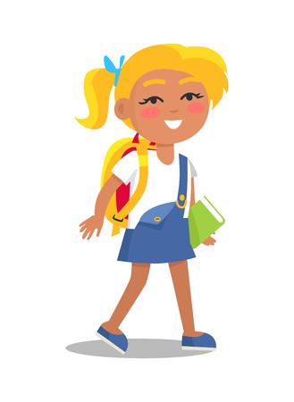 Ilustración de Schoolgirl in Uniform in Blue and White Colors - Imagen libre de derechos