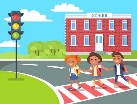 Ilustración de Pupils go Home After Classes Crossing Pedestrian - Imagen libre de derechos