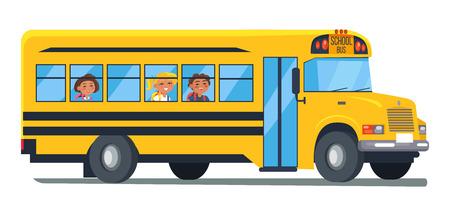 Illustration pour School Bus with Kids Sitting Near side view - image libre de droit