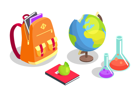Illustration for School Backpack Full of Books, Chemical Flasks - Royalty Free Image