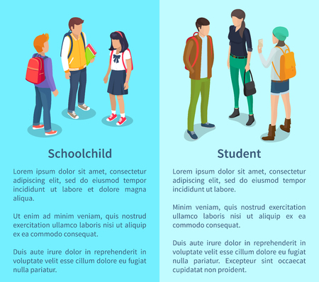 Illustration for Schoolchild and Student Set of Posters with Text - Royalty Free Image