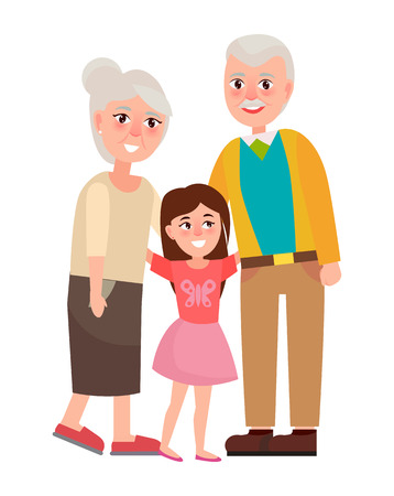 Illustration for Senior Grandparents with Granddaughter, Isolated on white - Royalty Free Image
