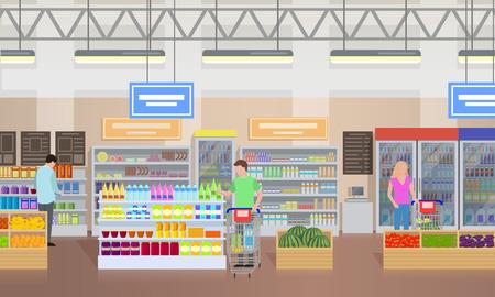 Ilustración de Supermarket People Shopping Vector Illustration - Imagen libre de derechos