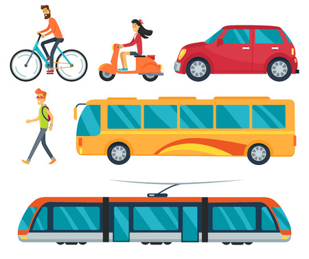 Ilustración de Different types of transport, icons of walking boy, cycling man, car and bus, train and woman on moped vector illustration isolated on white - Imagen libre de derechos