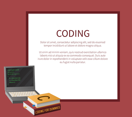 Ilustración de Coding banner with portable computer and thick textbooks for informatics studies vector illustration with place for text. Open laptop with program code on screen. - Imagen libre de derechos